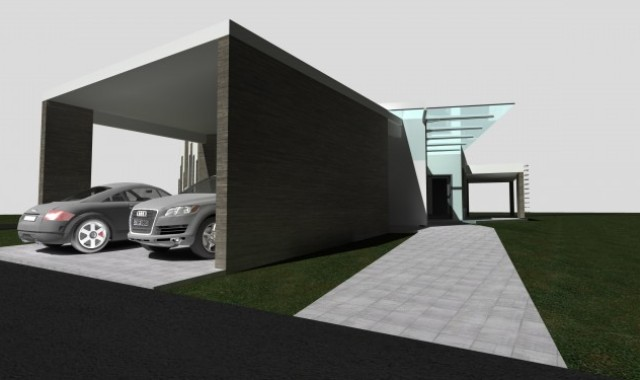 Vizualizácia rodinného domu. Pohľad na garáž.