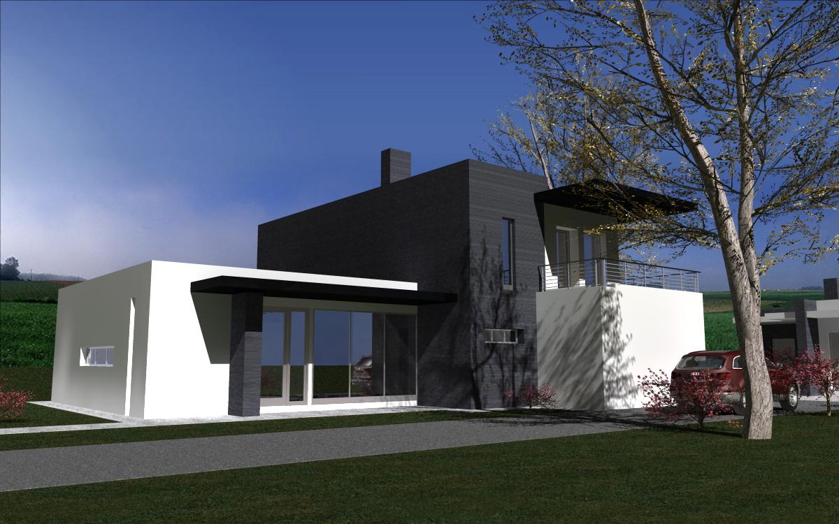 Vizualizácia rodinného domu. Pohľad na prístupovú cestu.