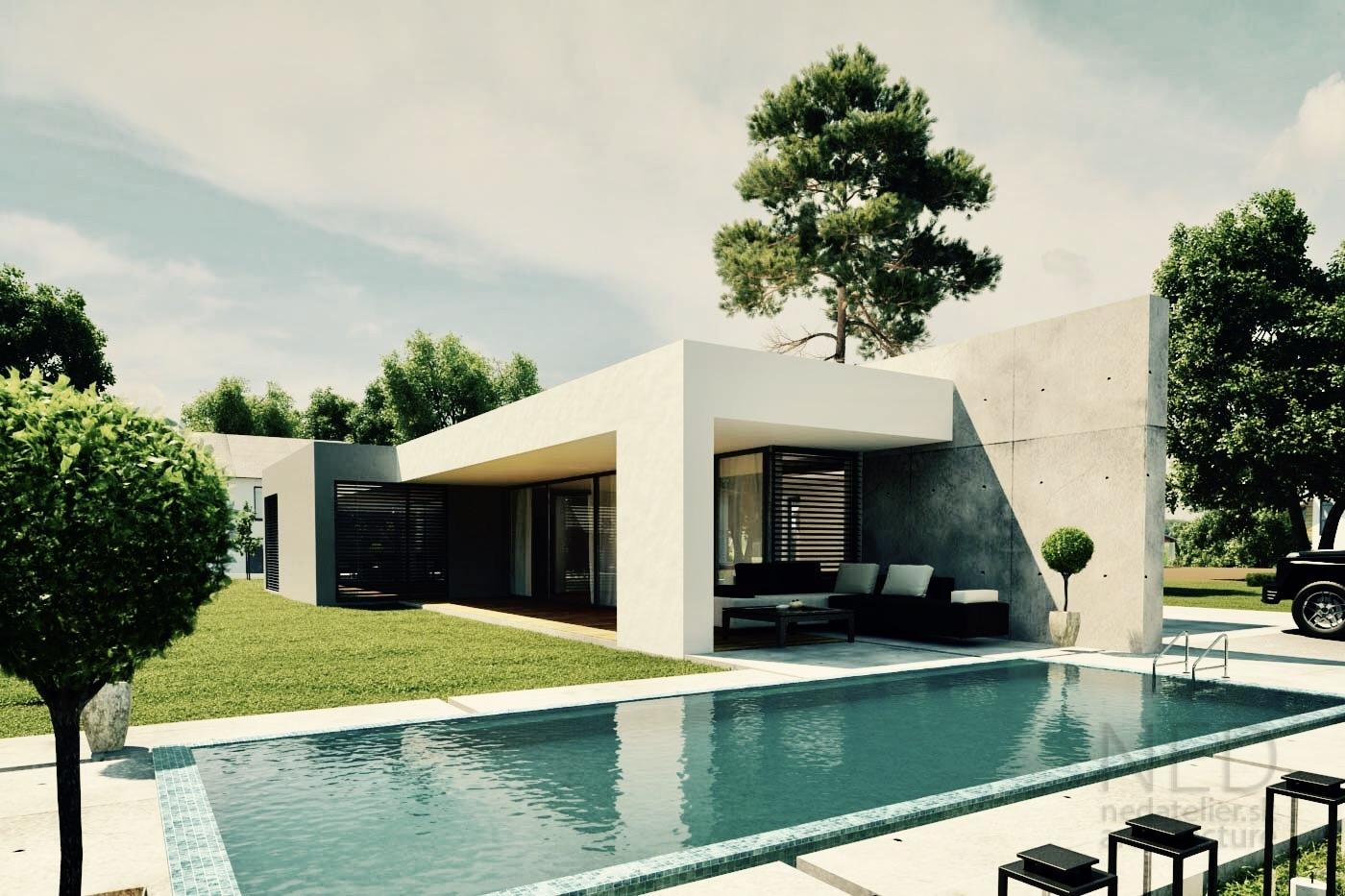 modrný projet domu od nedatelier