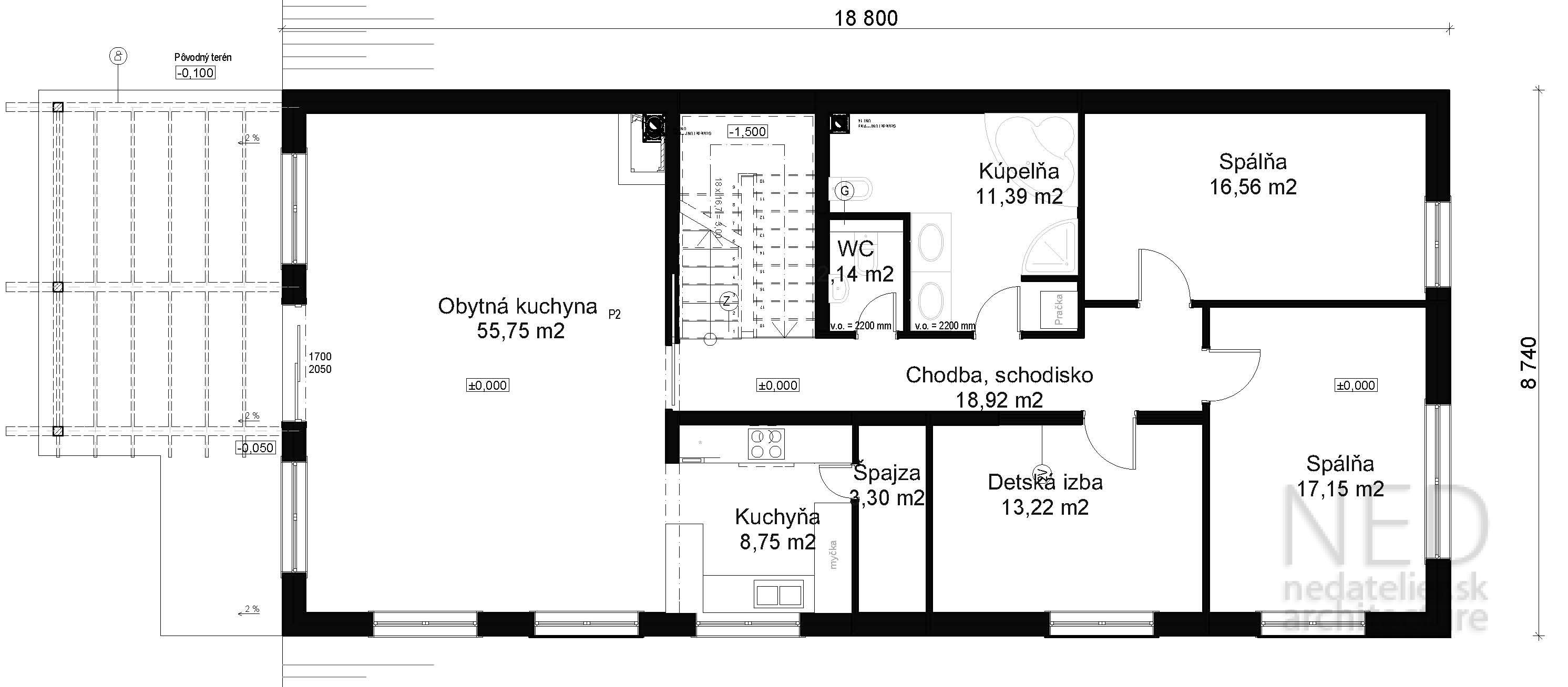 Projekt domu vo svahu OLE2