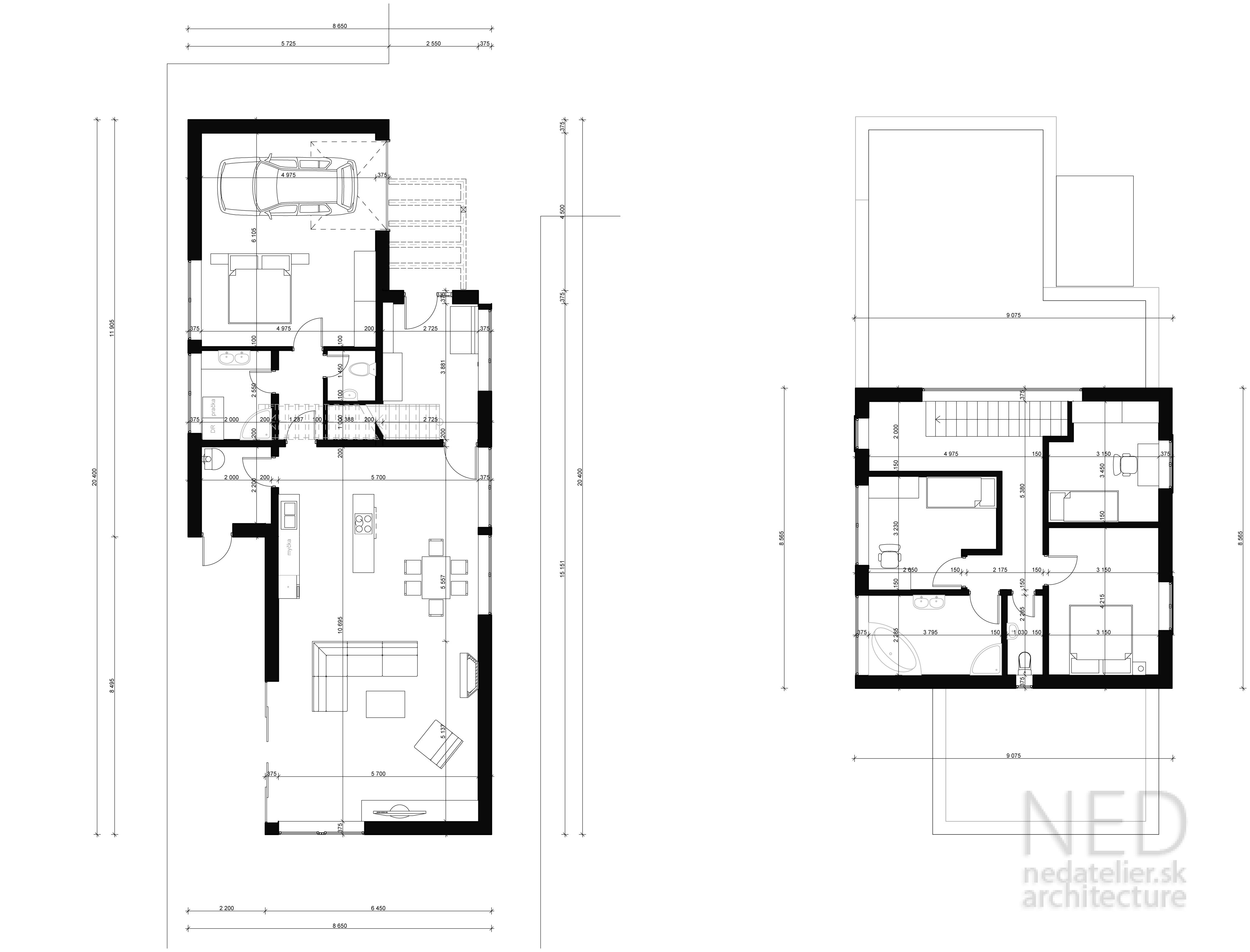Projekt nízkoenergetického rodinného domu NOR2